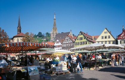 Market place with two churches