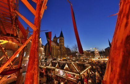 View from the medieval gateway at the Christmas market