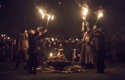 "Torchlight procession to the ""castle"" of Esslingen"